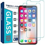 Tech Armor Apple iPhone X Ballistic Glass Screen Protector [2-Pack] Case-Friendly Tempered Glass, 3D Touch Accurate for New 2017 Apple iPhone X [UPDATED DESIGN]