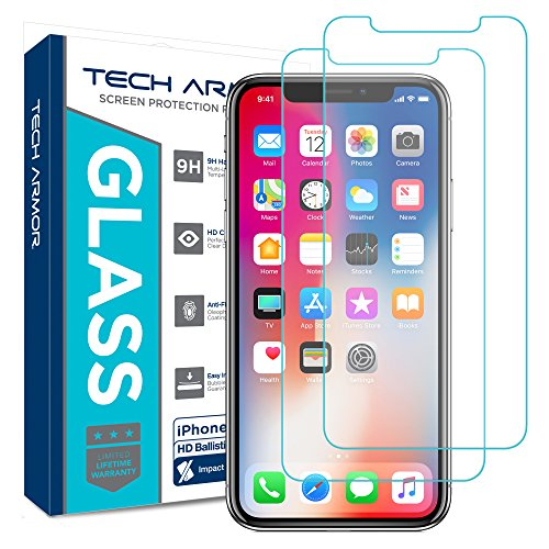 New Glass Screen - Tech Armor Apple iPhone X Ballistic Glass Screen Protector [2-Pack] Case-Friendly Tempered Glass, 3D Touch Accurate for New 2017 Apple iPhone X [UPDATED DESIGN]