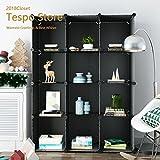 Tespo 12-Cube Modular DIY Storage Cube Organizer 4 tier Shelving Bookcase Cabinet Closet Black (12-Cube Black)
