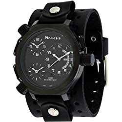 Nemesis #JB080KK Men's Signature Collection 3 Time Zone Oversized Wide Leather Cuff Band Watch