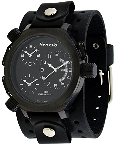 (Nemesis #JB080KK Men's Signature Collection 3 Time Zone Oversized Wide Leather Cuff Band)