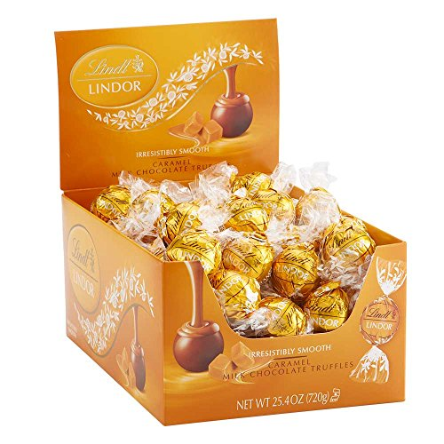 Lindt LINDOR Caramel Milk Chocolate Truffles Kosher Candy Chocolates, 60 Count Box -
