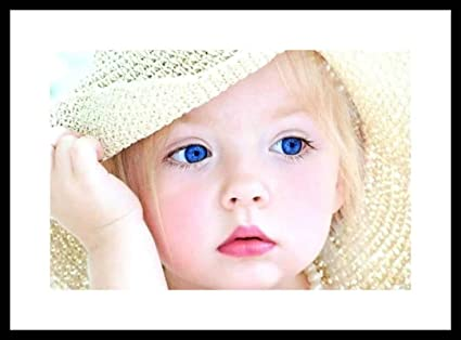 e5905166c35 MNTC Cute Baby Girl with Flowers Digital Printing Framed Poster (14 ...