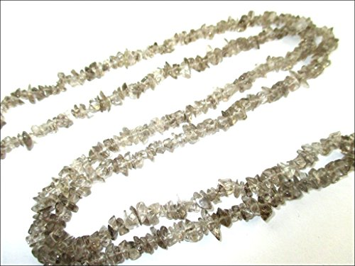 HiJet Beautiful Smokey Quartz Chips Strands Mala Approx. 32-34 Inch Long for making Jewelry Balancing Positive Energy Harmony Luck Yoga Meditation Reiki Unique Genuine Authentic Fashion (Dark Smokey Eye Halloween)