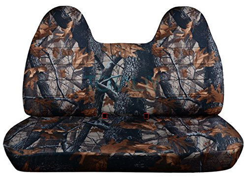 (Totally Covers Fits 1992-1998 Ford F-150 F-250 F-350 Camo Truck Seat Covers (Front/Rear Solid Bench) w/wo Separate Headrests/Armrest: Gray Real Tree 1993 1994 1995 1996 1997 F-Series F150 F250 F350)