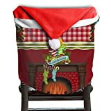 Christmas Fireplace Christmas Chair Covers Special DURABLE Hang Around Chair For Husbands Chair Back Covers Holiday Festive