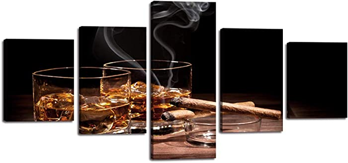 Yatsen Bridge Brown Whisky in Cups with Ice Canvas Wall Art Wine Painting Smoking Cigar Ashtray Pictures 5 Pieces Liquor Posters and Prints Artwork Decor for Home Kitchen Bar Pub Framed (50''Wx24''H)