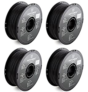 HATCHBOX 3D ABS-1KG1.75-BLK ABS 3D Printer qIDNN Filament, Dimensional Accuracy +/- 0.05 mm, 1.75 mm, Black, 1 KG Spool (4 Pack) from HATCHBOX