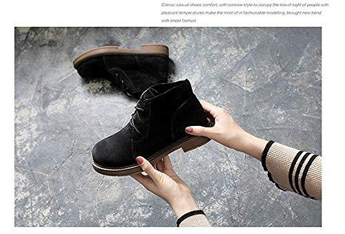 Loisirs Deed Chaussures À Fond Étudiants Dentelle Bottes Les Pour 36 Et Plat Rétro De Eu Courtes Mesdames Rugueux PZikXuO