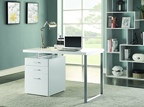 Cheap  Writing Desk with File Drawer and Reversible Set-Up White and Silver