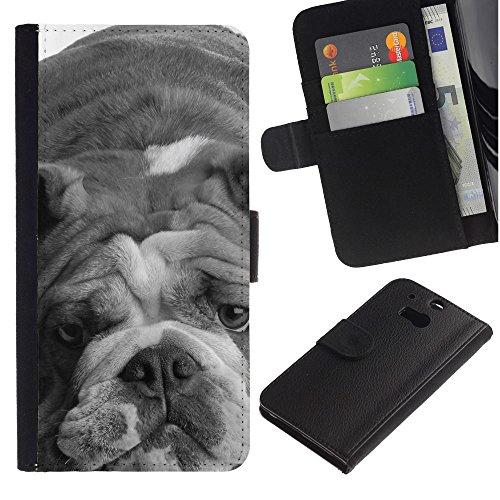 LASTONE PHONE CASE / Lujo Billetera de Cuero Caso del tirón Titular de la tarjeta Flip Carcasa Funda para HTC One M8 / English Bulldog Gray Black White Dog