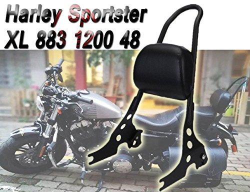 - E-Most Scrub Sissy Bar Adjustable Solid Steel Passenger Backrest Luggage Rack For Harley Sportster XL 883 1200 48