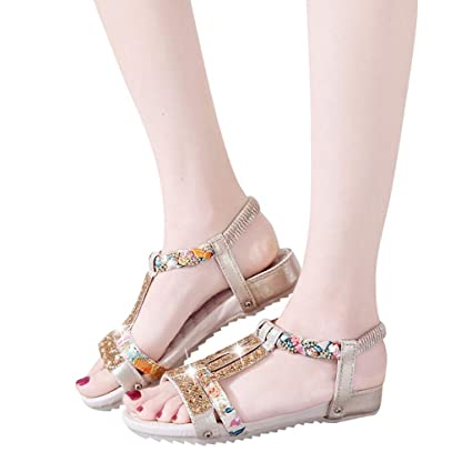 298951034e4f Image Unavailable. Image not available for. Color  Women s Summer Crystal  Bling Flat Sandals Bohemia Beach Roman Shoes Peep Toe Elastic band Sneakers  Casual