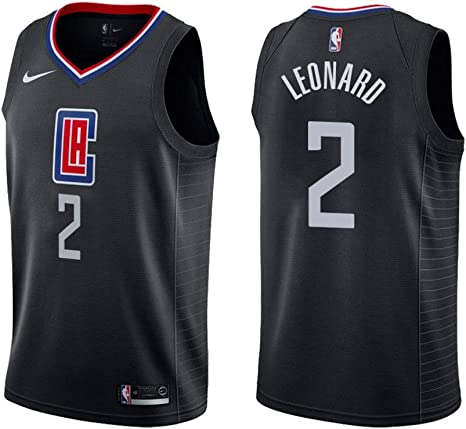 Nero, M Abbigliamento Sportivo canottejerseyNBA Kawhi Leonard Los Angeles Clippers #2 Basket Jersey Maglia Canotta Swingman Ricamata