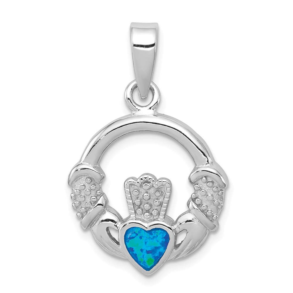 FB Jewels Solid 925 Sterling Silver Blue Inlay Created Opal Irish Claddagh Pendant