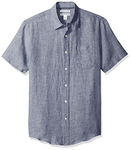 Amazon Essentials Mens Slim-Fit Short-Sleeve Linen Shirt