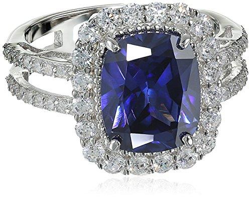 Designer Winston - Charles Winston, Sterling Silver, Tanzanite CZ & White Cubic Zirconia Ring, 6.40 ct. tw., Size 6