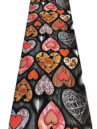Tappeto passatoia cucina antiscivolo stampa digitale Cuori di legno colori brillanti lavabile - Nero - 50x200cm Il Gruppone