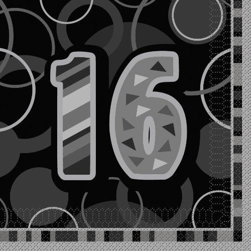 Glitz Black 16th Birthday Paper Napkins by Unique Party