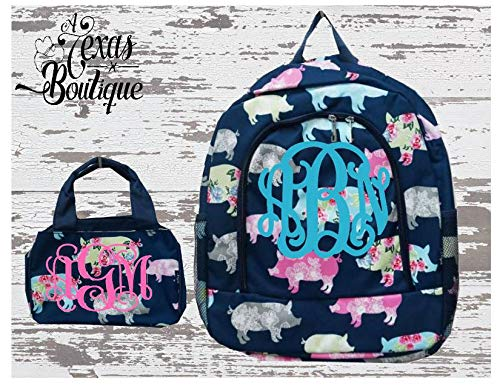 Posh Flowery Pigs Large Backpack matching Insulated Bowler Style Lunch Bag Farmlife (Pig Posh)