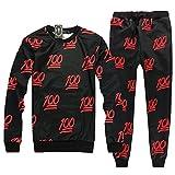 Genluna Emoji Printing Pretty Joggers Sweatsuit Set XX-Large Black red Suits