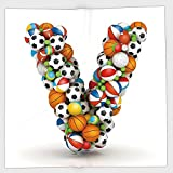 Cotton Microfiber Hand Towel,Letter V,Capital V Designed with Various Different Balls Sporting Goods Game Equipment,Multicolor,for Kids, Teens, and Adults,One Side Printing