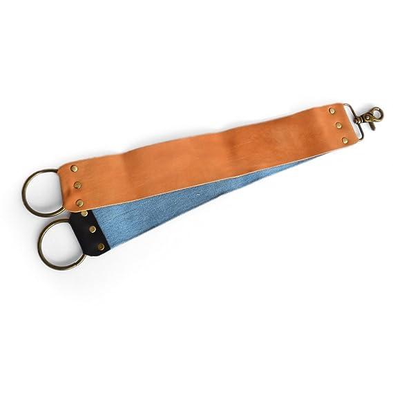 AP Donovan - correa de cuero con pasta abrasiva para cuchillos - afilar ambos lados, 2 piezas correa de cuero de la maquinilla de afeitar