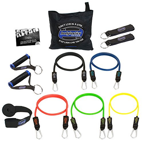 bodylastics Resistance Bands Set with Patented Anti-Snap Elastics, Patented Clips, Upgraded Handles, Door Anchor, Legs, Wrist Ankle Straps & Manual
