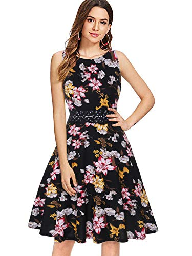 (OWIN Women's Vintage 1950's Floral Spring Garden Rockabilly Swing Prom Party Cocktail Dress)