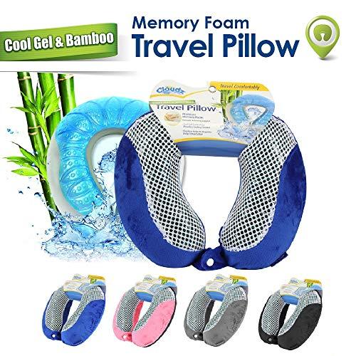 Cloudz Cool Gel Memory Foam Travel Neck Pillow - Blue