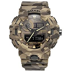SMAEL New Camouflage Military Watch Sport Watches LED Digital Clock Dual Time Wristwatch Men's Army Watch Waterproof 8001 Series (Khaki)