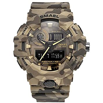 smael serie nuevo camuflaje militar reloj smael marca Sport relojes LED reloj Digital hora Dual reloj