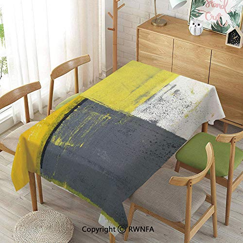 Homenon Decorative Rectangular Table Cloth,Street Art Modern Grunge Abstract Design Squares,Indoor Outdoor Camping Picnic,White Charcoal Grey and Light Yellow,55