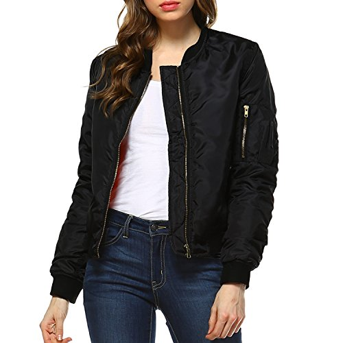 Fashionazzle Women's Solid Classic Zip Up Quilted Short Bomber Jacket Padded Coat (Large, BMJ05-Black)