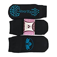 Clever Yoga Socks for Sports Pilates Barre Home Studio or Travel ( 3 Pairs)