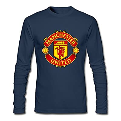 Manchester United F.C Men's 100% Cotton Long Sleeve Tee Navy