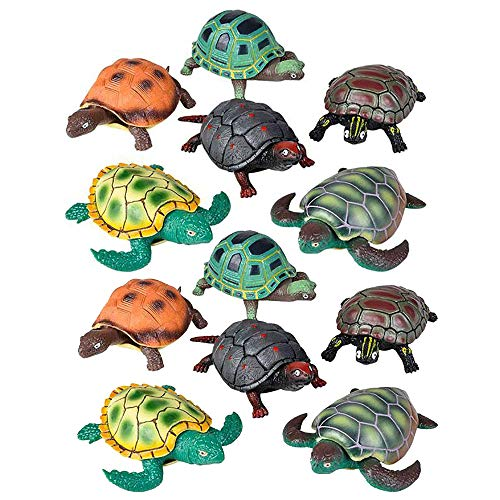 """4.5"""" Stretch Turtle –– 12 Rubbery Bony Animal Toy – Easter Basket Fillers, Piñata or Stocking Stuffers, Teacher Supplies, Gift Ideas, Novelty, Sensory Stimulation, Carnival or Game Prizes ()"""