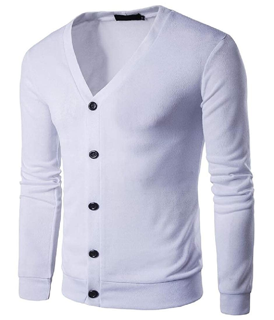 Alion Mens Fashion Deep V-Neck Knitted Button Down Cardigan Sweater with Ribbing Edge