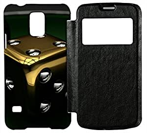 Generic 3D Dice Cell Phone Case for Galaxy S5 I9600 Leather Black