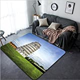 Vanfan Design Home Decorative 207066694 Leaning Tower of Pisa in Tuscany a Unesco World Heritage Site and one of the most recognized and famous buildings in the world Modern Non-Slip Doormats Carpet f