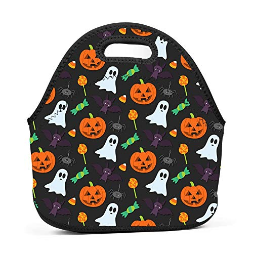 QUANUIJHG Halloween-Pattern-Background-Tumblr Lunch Bag Insulated Reusable Neoprene School Picnic Lunch Box Waterproof Tote Bento Bag with Zippe Handbag for Men, Women, Adults, Kids, Girls, Boys]()