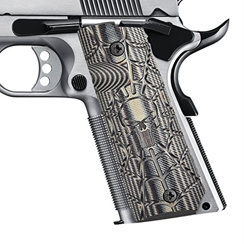 l Size Commander/Government Grips, Cobweb Skull Texture, G10 Material Ambi Safety Cut, Brand Pistol Grips (Skull Thumb Screw)