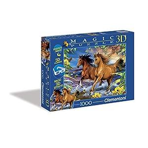 Clementoni Puzzle 39222 Horses In The Surf 1000 Pezzi Magic Puzzle 3d