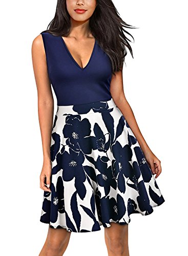 Yidarton Summer Women's Casual Flare Floral Contrast Party Cocktail Short Mini Dresses Navy (Womens Mini Day Dress)
