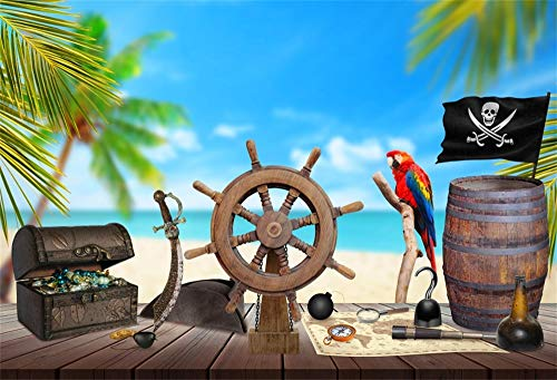 Yeele 8x6ft Summer Beach Backdrop for Photography Ship Wheel Treasure Map Rum Compass Knife Palm Tree Pirate Background Seaside Wooden Board Kids Adult Photo Booth Shoot Vinyl Studio Props