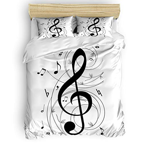 (Bedding Duvet Cover Set, 4 Pieces Microfiber Down Comforter Quilt Cover Zipper & Tie,Ultra Soft Comfy Breathable Fade Resistant,Musical Note Twin, 68 by 86 inch)