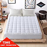 Luxury mattress Collection 100% Cotton 300 Thread Mattress Pad Cover Down Hotel Use Alternative Pillowtop Mattress Topper(Queen,Printing)