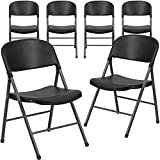 Black Plastic Folding Chairs Flash Furniture 6 Pk. HERCULES Series 330 lb. Capacity Black Plastic Folding Chair with Charcoal Frame