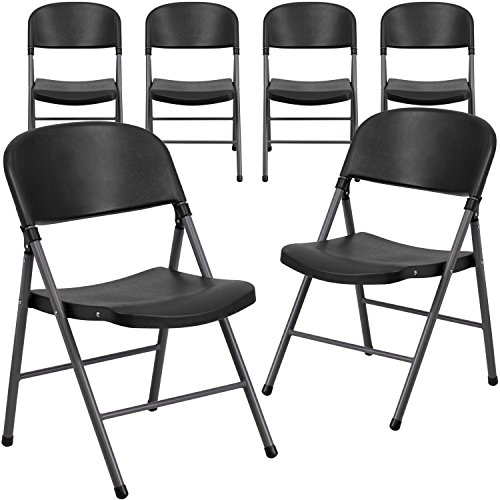 Flash Furniture 6 Pk. HERCULES Series 330 lb. Capacity Black Plastic Folding Chair with Charcoal Frame