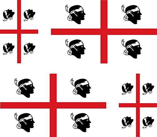 Set di 4 Adesivi per Auto e Moto Motivo Bandiera della Sardegna